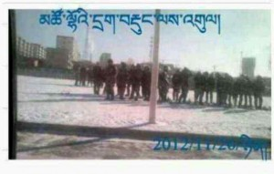 A grainy picture (taken on mobile phone) of the People's Armed Police contingent during the Chabcha protest.