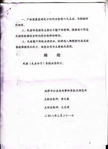 Image 5 of the internal document prepared by the criminal and medical department of the Lhasa Public Security Bureau