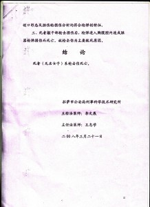 Image 8 of the internal document prepared by the criminal and medical department of the Lhasa Public Security Bureau