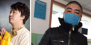 Gonpo Tenzin before detention (left) and wearing a surgical mask in a hospital.