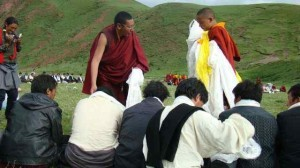 An undated image of Tenzin Lhundrup acknowledging the members of Naglha Dzambha Mountain Protection Committee for resisting mining activities.