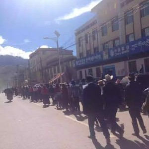 About 100 Tibetans stage a non-violent protest march to Nangchen County government office