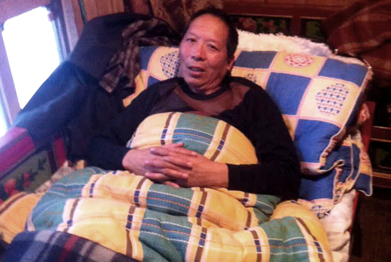 Ngodup Phuntsok bedridden at his home after release