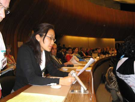 Norzin Dolma presenting oral statement at 61st Session of the UN Commission on Human Rights.