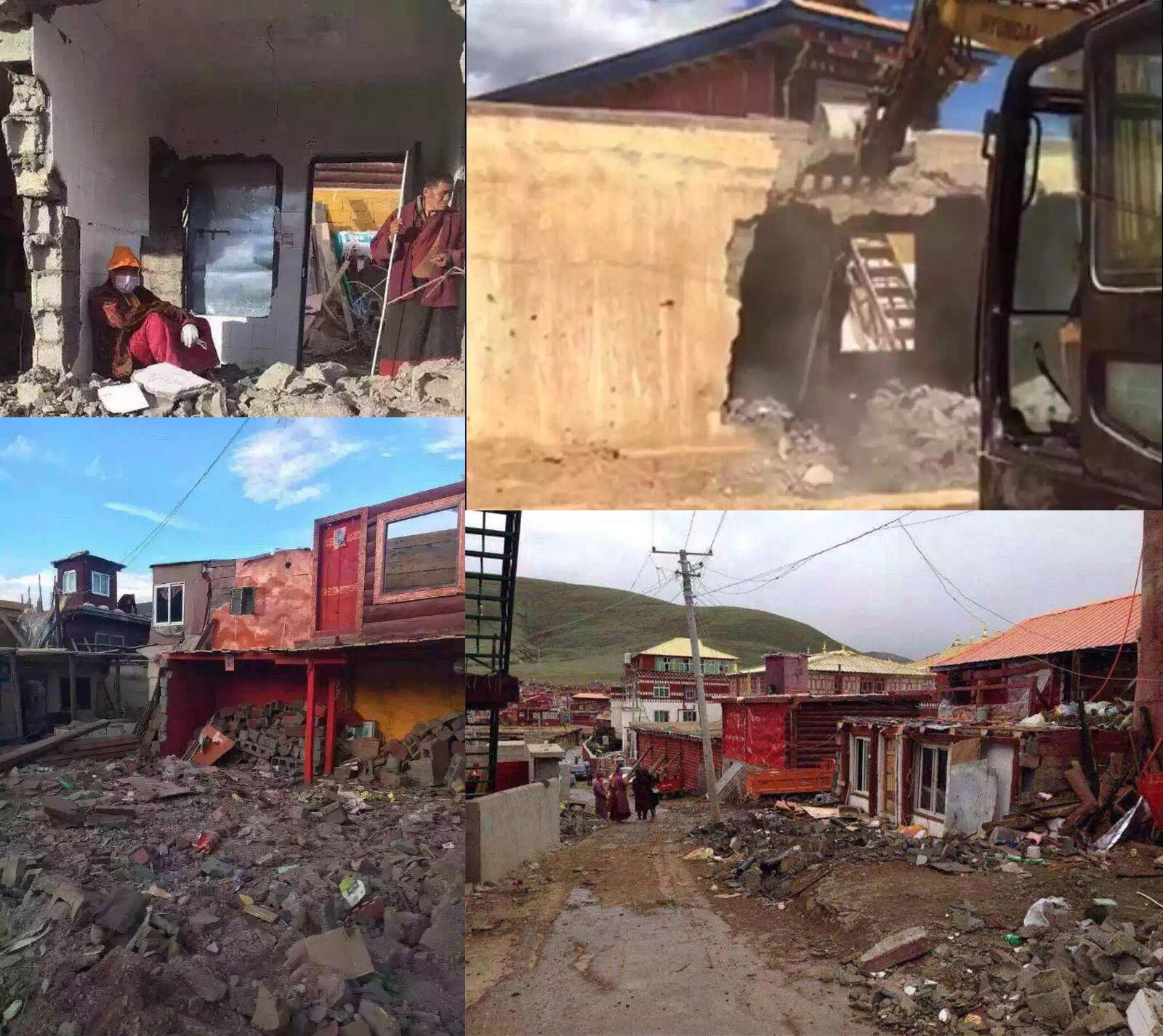 Recent photos of housing destroyed by residents themselves before the arrival of government demolition crew at Yachen Gar
